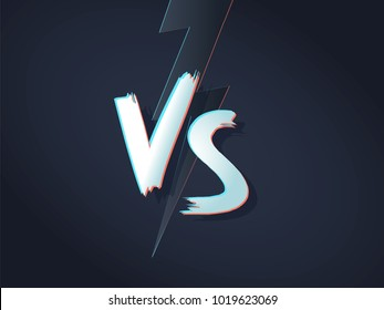 VS letters on ultraviolet background with lightning. Versus Vector Illustration. Poster symbols of confrontation VS. Vector illustration on a black background with a trendy minimalist style.