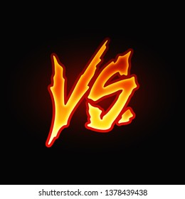 VS letters. Versus sign. Fight competition. Battle vs match. Game match. VS isolated on a black background. Vector illustration. Color easy to edit. Transparent background.