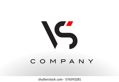 VS Logo.  Letter Design Vector with Red and Black Colors.