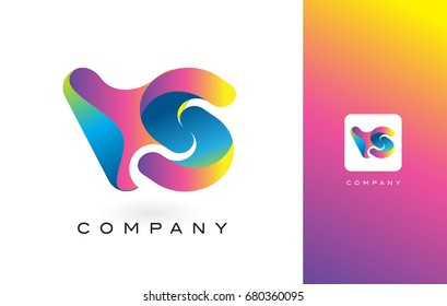VS Logo Letter With Rainbow Vibrant Colors. Colorful Modern Trendy Purple and Magenta Letters Vector Illustration.
