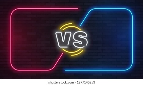 Vs neon. Versus battle game banner with neon empty frames. Boxing match duel, slag competition business confrontation vector illustration