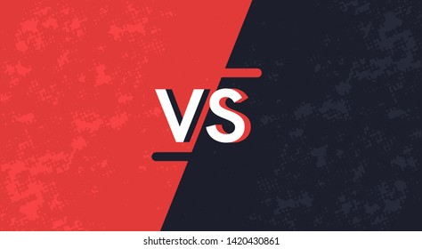 Vs screen. Blue and red abstract versus background. Fight template. Simple modern comic design. Flat style vector illustration.
