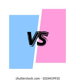 VS screen. Versus sign on divided background. Decorative battle cover with lettering. Template for banner, poster, flyer, brochure, card. Vector illustration.