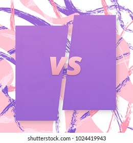 VS screen. Versus sign on divided background with brush pattern. Decorative battle cover with lettering. Template for banner, poster, flyer, brochure, card. Vector illustration.