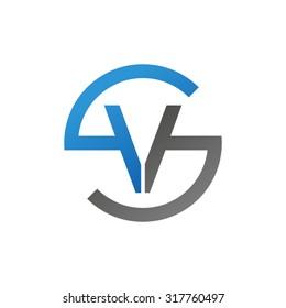VS SV initial company circle S logo blue