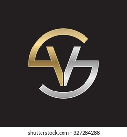 VS or SV letters, golden silver circle S shape