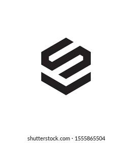VS or SV Monogram Style Logo Design With Black Colour.