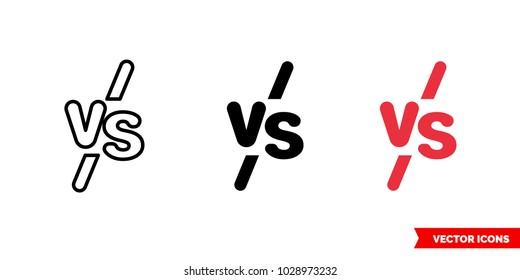 VS symbol icon of 3 types: color, black and white, outline. Isolated vector sign symbol.