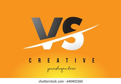 VS V S Letter Modern Logo Design with Swoosh Cutting the Middle Letters and Yellow Background.