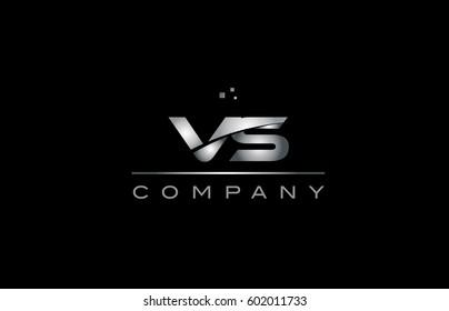 vs v s  silver grey metal metallic alphabet technology company letter logo design vector icon template black background