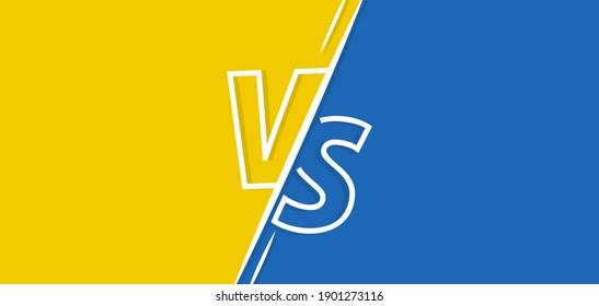 Vs vector background. Versus yellow and blue banner. Vs fight competition retro poster for game, battle and sport. Vector illustration.