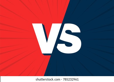 VS Versus Blue and red comic design. Vector illustration.