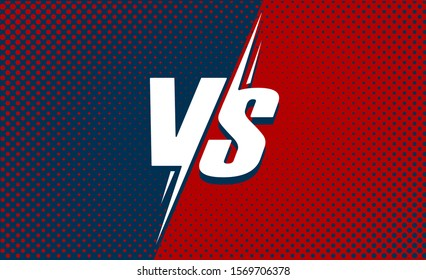 Vs or versus text poster for battle or fight game vector flat cartoon design with halftone red and dark blue background