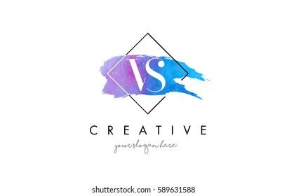 VS Watercolor Letter Brush Logo. Artistic Purple Stroke with Square Design.