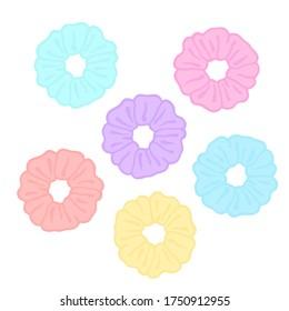 VSCO girl hair scrunchies. Pastel rainbow scrunchies. VSCO girl stickers. Vector.