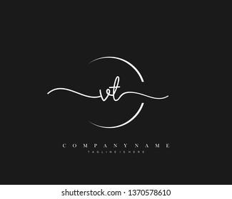 VT initial handwriting logo template vector