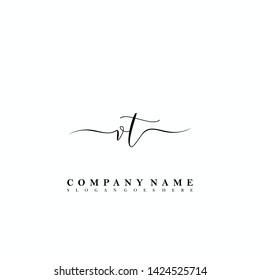 VT Initial luxury handwriting logo vector