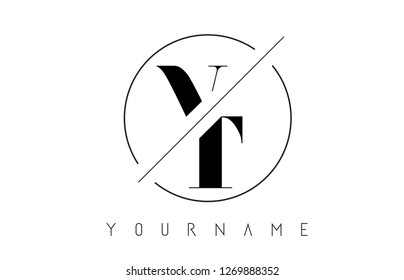 VT Letter Logo with Cutted and Intersected Design and Round Frame Vector Illustration