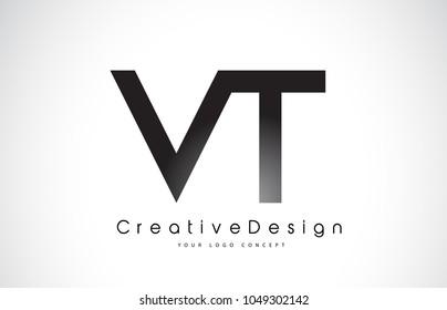 VT V T Letter Logo Design in Black Colors. Creative Modern Letters Vector Icon Logo Illustration.