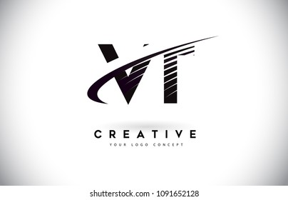 VT V T Letter Logo Design with Swoosh and Black Lines. Modern Creative zebra lines Letters Vector Logo
