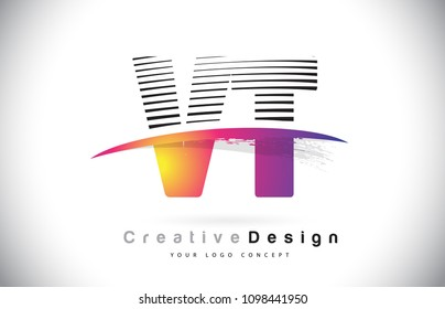 VT V T Letter Logo Design With Creative Lines and Swosh in Purple Brush Color Vector Illustration.