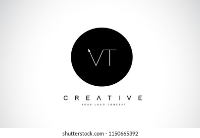 VT V T Logo Design with Black and White Creative Icon Text Letter Vector.