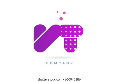 vt v t pink dots dotted letter logo alphabet creative company vector icon design template
