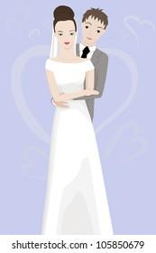 vtctor illustration of happy bride and groom