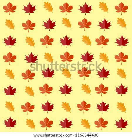 Vtktor Illustrettion Pattern Oak Maple Chestnut Stock Vector