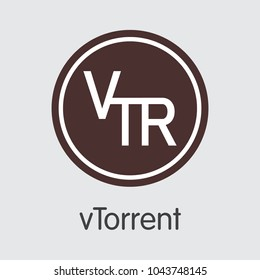 Vtorrent Finance. Blockchain Cryptocurrency - Vector Coin Illustration. Modern Computer Network Technology Pictogram. Digital Pictogram of VTR. Concept Design Element.