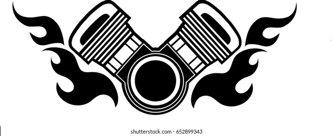 V-twin engine with fire pattern