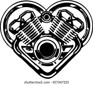 v-twin engine forming heart by chrome muffler