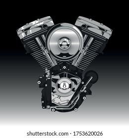 V-twin Engine Premium Vector Illustation