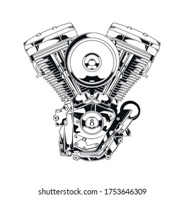 V-twin Engine Premium Vector Illustation Black And White