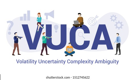 vuca volatility uncertainty complexity ambiguity concept with big word or text and team people with modern flat style - vector
