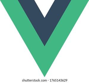 Vue.js emblem double green letter V on white background