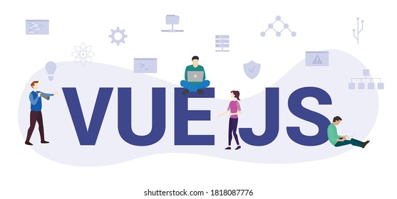 vue js concept with modern big text or word and people with icon related modern flat style