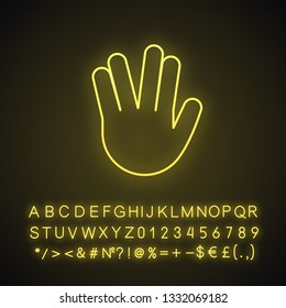 Vulcan salute emoji neon light icon. Live long and prosper hand gesture. Raised hand with part between middle, ring fingers. Glowing sign with alphabet, numbers, symbols. Vector isolated illustration