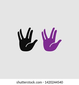Vulcan salute icon color and black