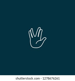 Vulcan Salute icon. Vulcan Salute icon on blue background