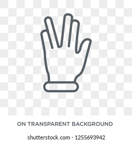 Vulcan salute icon. Trendy flat vector Vulcan salute icon on transparent background from Hands and guestures collection. High quality filled Vulcan salute symbol use for web and mobile