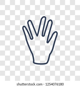 Vulcan salute icon. Trendy linear Vulcan salute logo concept on transparent background from Hands collection