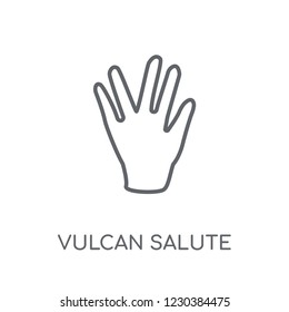 Vulcan salute linear icon. Modern outline Vulcan salute logo concept on white background from Hands collection. Suitable for use on web apps, mobile apps and print media.