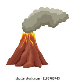 Vulcano with lava cartoon