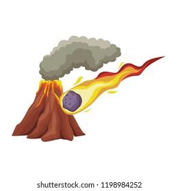 Vulcano with lava and meteor cartoon