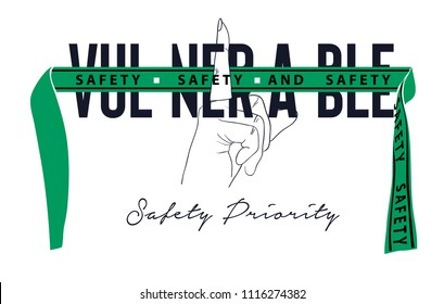 vulnerable slogan with finger sign on green ribbon