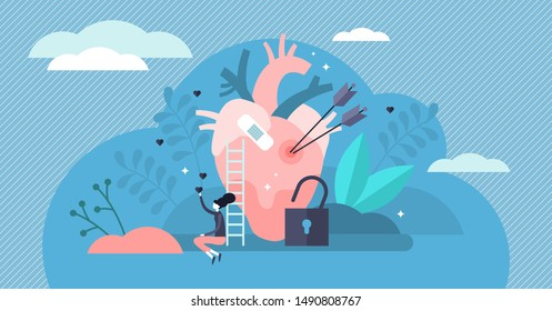 Vulnerable vector illustration. Flat tiny unsafe feeling persons concept. Love romance sad hurtful experience and broken heart fixing. Fragile relationship failure and emotional sensitive injury risk.