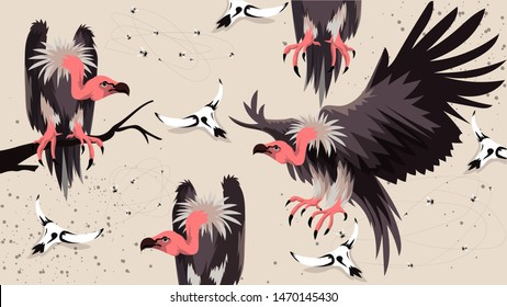 Vulture bird African animal vector illustration. New Fashion Summer Sale Banner. Evil Vultures Modern Graphic Background. Exotic Invitation, Poster, Flyer or Card. Modern Front Page in Vector