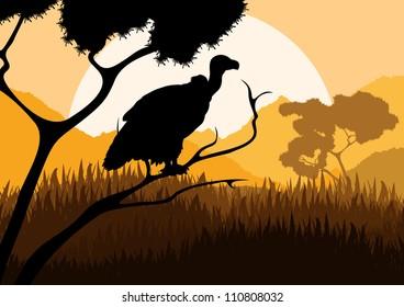 Vulture bird hunting in wild nature landscape background illustration vector