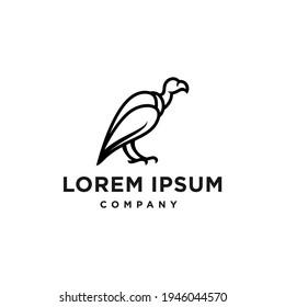 vulture bird logo line icon design Illustration in trendy minimal outline hipster style